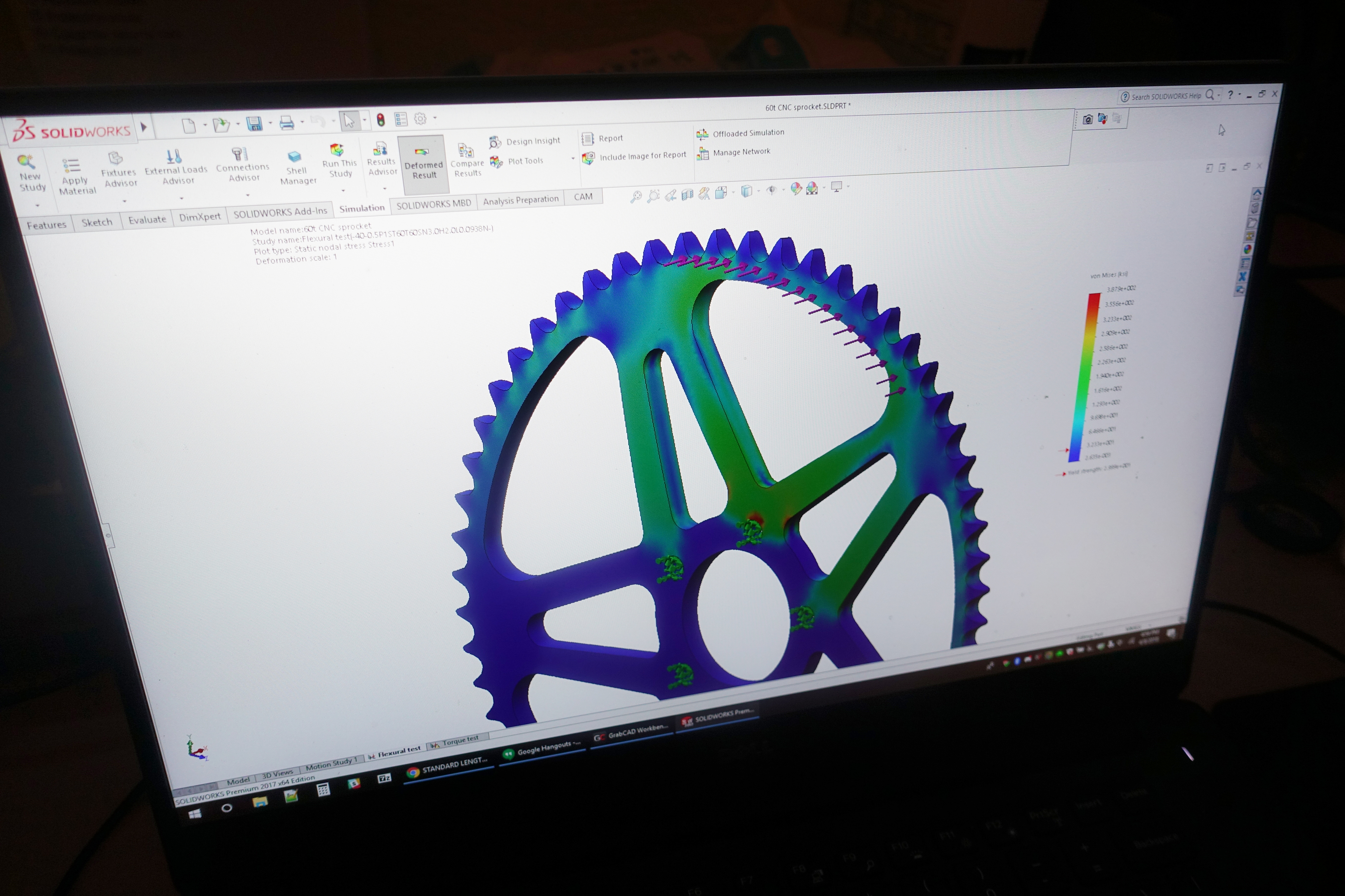Mechanical strength testing of custom Luna Cycle 60-tooth sprocket in CAD